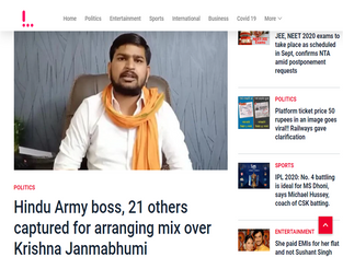 Hindu Army boss, 21 others captured for arranging mix over Krishna Janmabhumi