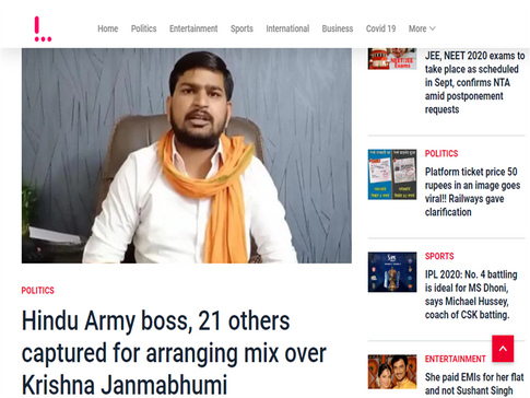 Hindu Army boss, 21 others captured for arranging mix over Krishna Janmabhumi