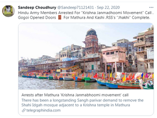 "Hindu Army Members Arrested For ""Krishna Janmadhoomi Movement"""