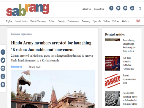 Hindu Army members arrested for launching 'Krishna Janmabhoomi' movement