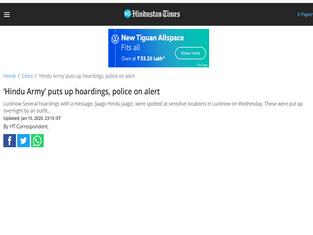 'Hindu Army' puts up hoardings, police on alert