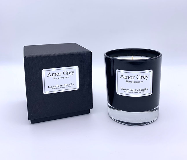 Gloss black candle gift boxed
