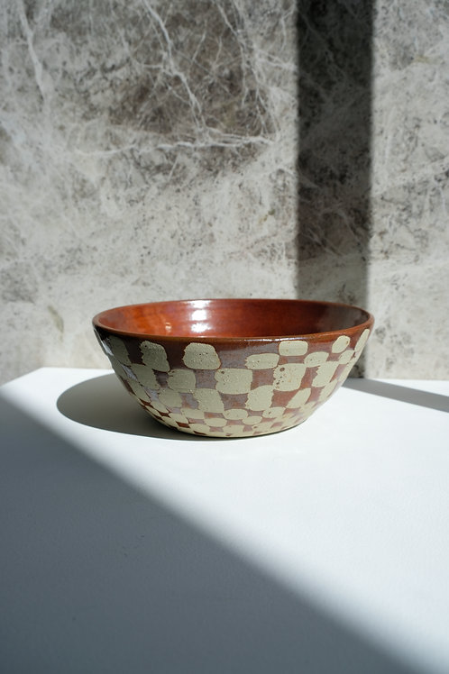 Large Iron Red Checkered Bowl