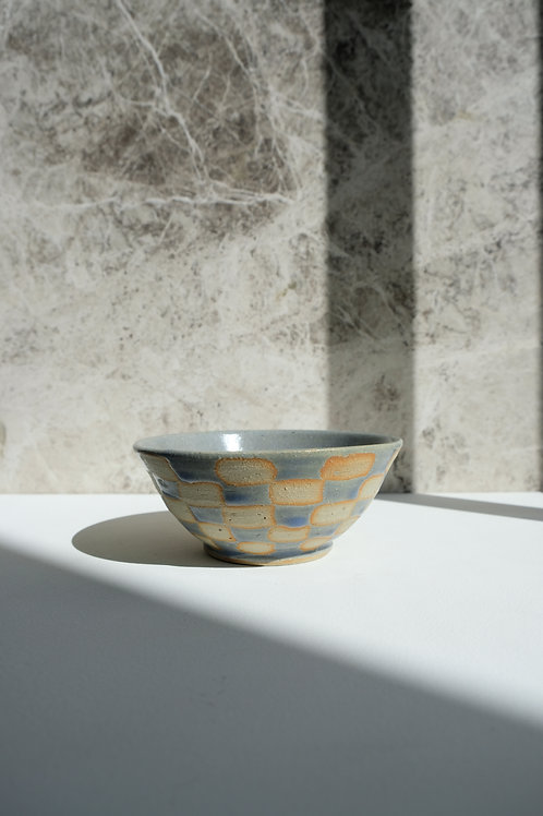 Small Baby Blue Checkered Bowl