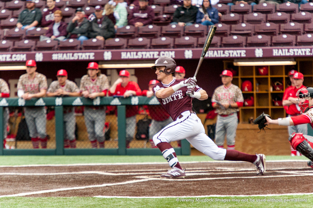Jake Mangum connects with a pitch.
