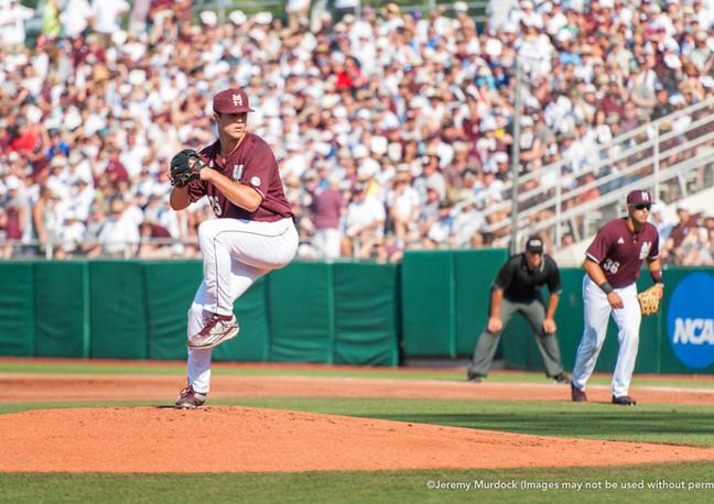 Bulldog star pitcher Dakota Hudson delivers a pitch in the 2016 NCAA Super Regional vs Arizona.