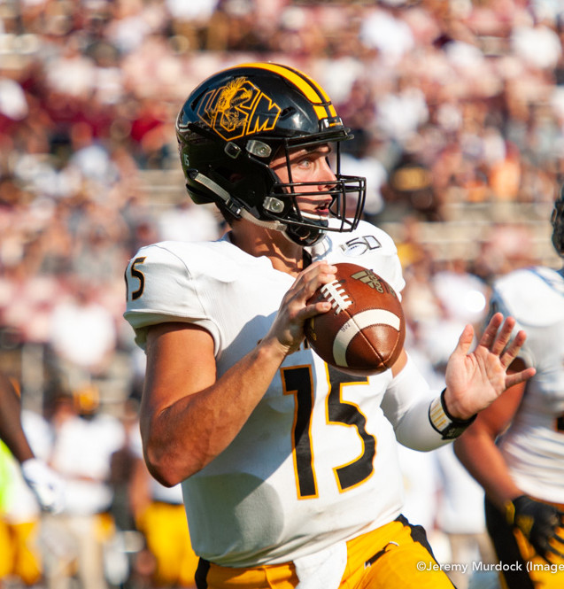 Southern Miss quaterback Jack Abraham searches for an open receiver.
