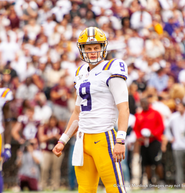 Heisman Trophy winner Joe Borrow leads a drive for the LSU offense.