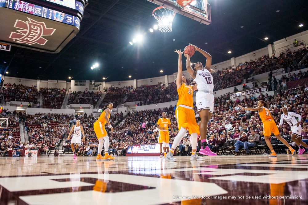Star center Teaira McCowan takes a shot against a Tennessee defender.