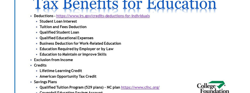 College - Day 4 - Tax Benefits for Educa