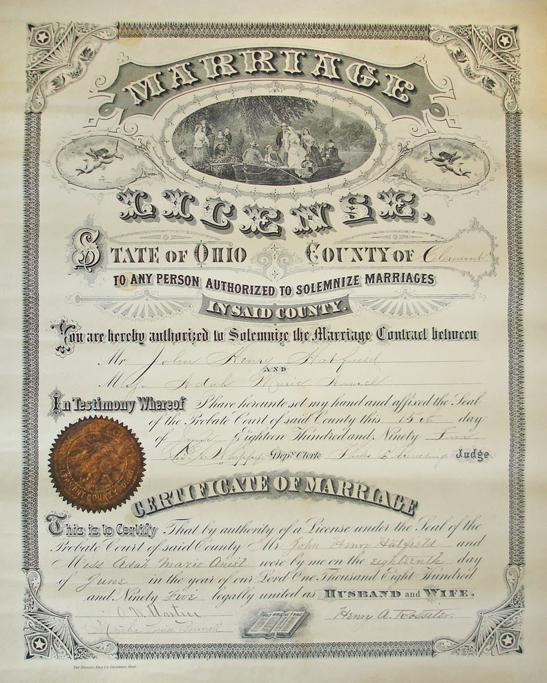 an old, very ornamental marriage license from Ohio