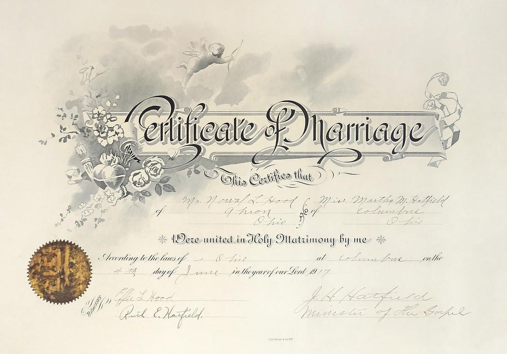 my grandparents' very elegant marriage certificate
