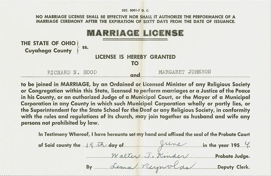 a marriage certificate from 1954 is much more austere