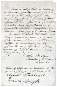 a hand-written marriage license that has been preserved