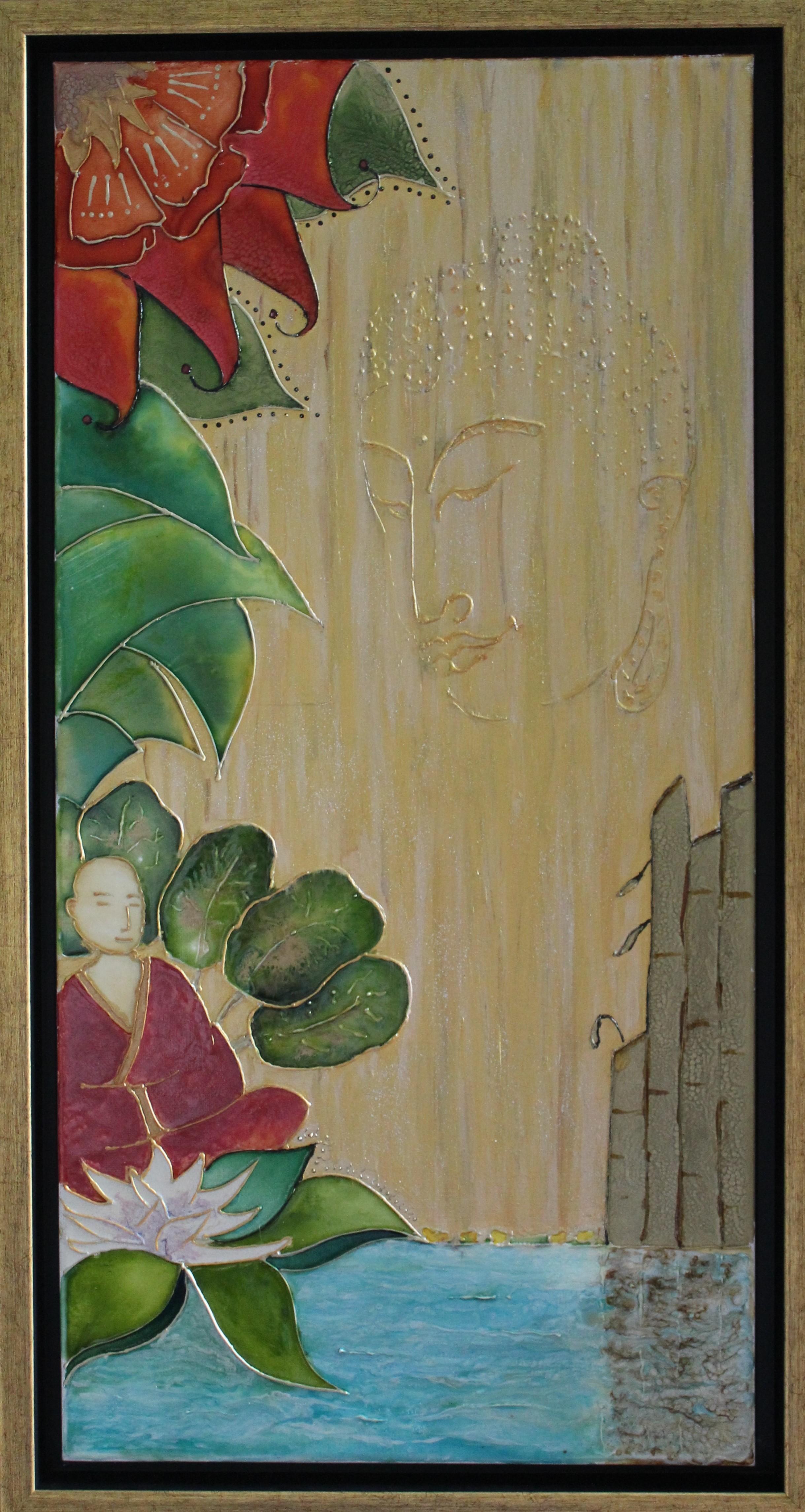 Jardin du Bouddha 24x12(IN) 60x30(CM) Encadré
