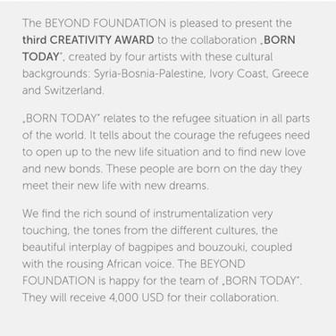 BORN TODAY WINS THE BEYOND MUSIC CREATIVITY AWARD