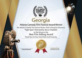 'Tight Spot' by Kevin Haefelin wins Best Editing Award at Atlanta Comedy Film Festival. Scor