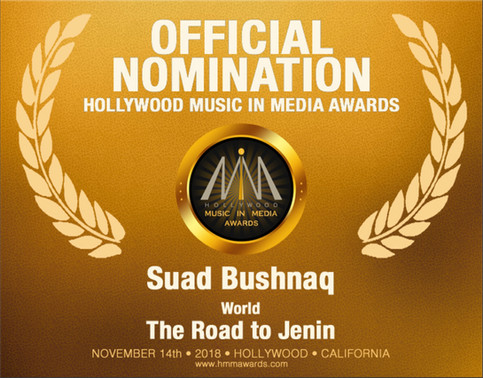 Hollywood Music in Media Award (HMMA) nomination forThe Road to Jenin, from The Curve, in the World