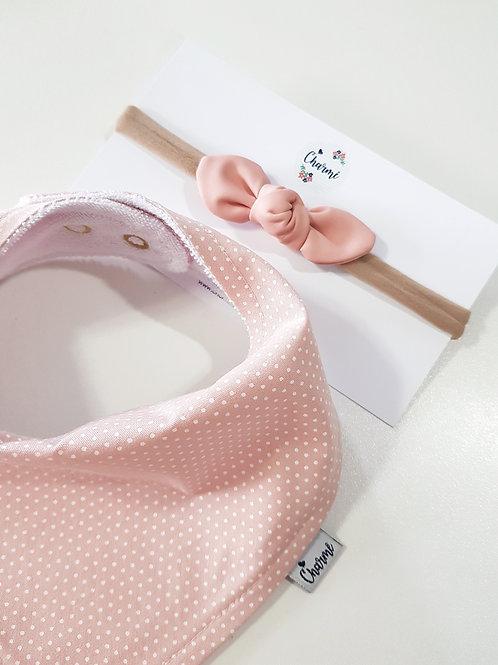 Conjunto Bandana Poás + Mini Turbante Corino Rosa Blush