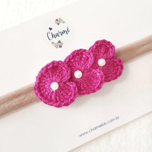 Laço Crochê Trio Coraçõezinhos Pink