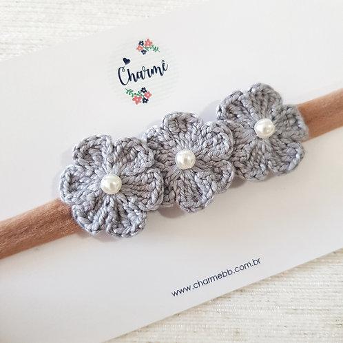 Laço Crochê Trio Floral Cinza