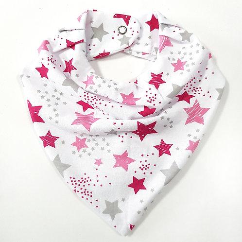 Bandana Rosa e Cinza Estrelas