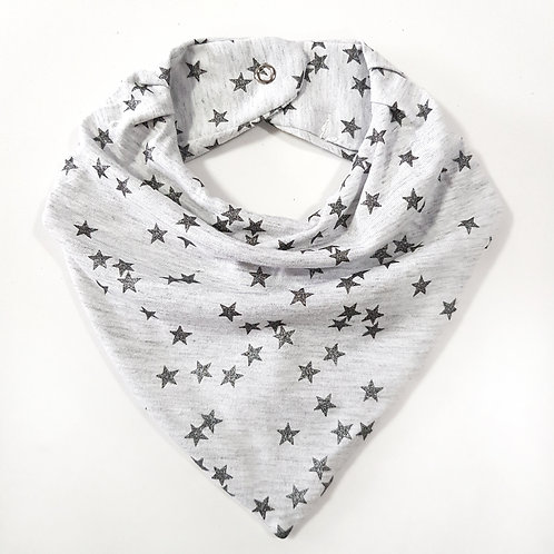 Bandana Estrelas Branco Mescla e Chumbo
