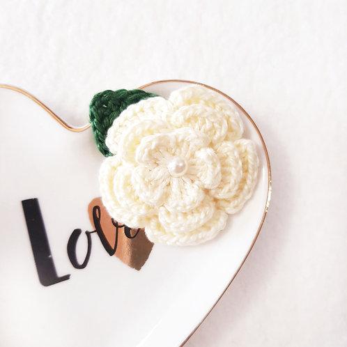 Laço Flor de Crochê Amarelinho