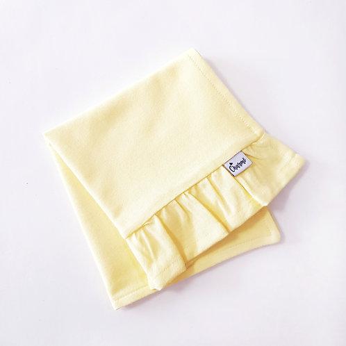 Pano de Boca com Babado Amarelo Bebê
