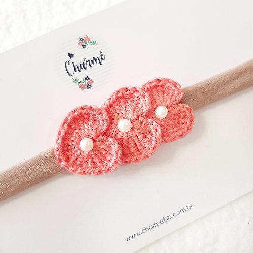Laço Crochê Trio Coraçõezinhos Coral