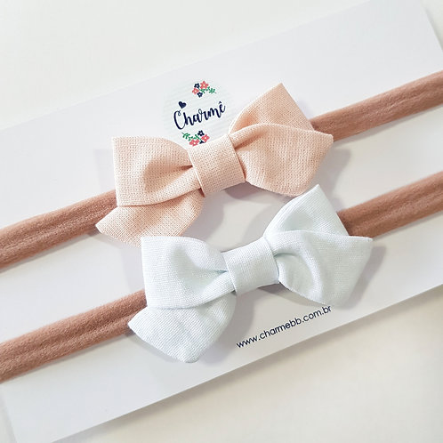 Kit Laços Bela P Rosa Blush + Branco