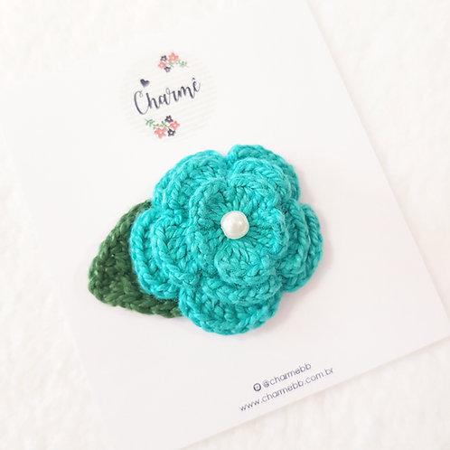 Laço Flor de Crochê Verde Jade