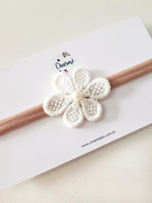 Laço Flor de Renda Off-White