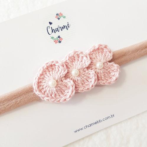 Laço Crochê Trio Coraçõezinhos Rosa Antigo