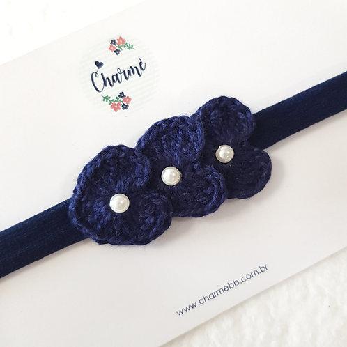 Laço Crochê Trio Coraçõezinhos Azul Marinho