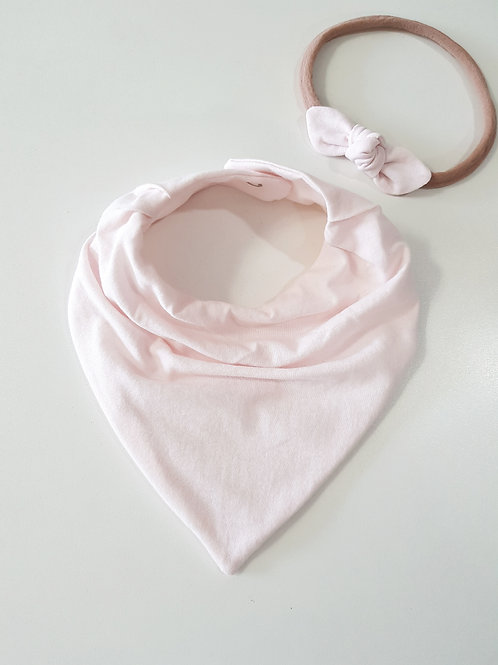 Conjunto Bandana + Mini Turbante Rosa Bebê Claro