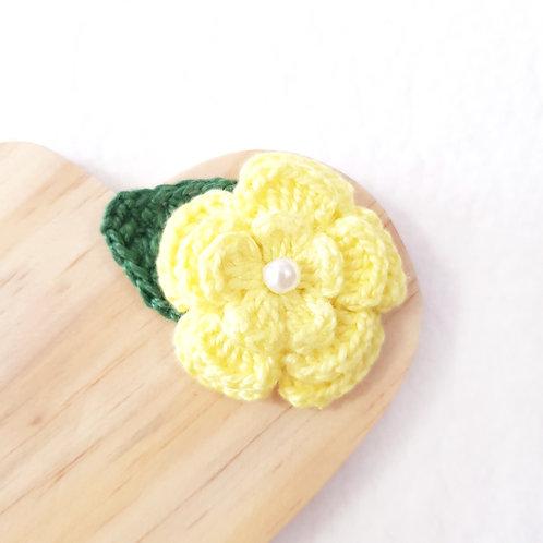Laço Flor de Crochê Amarelo