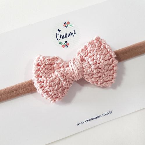 Laço Crochê Rosa Antigo