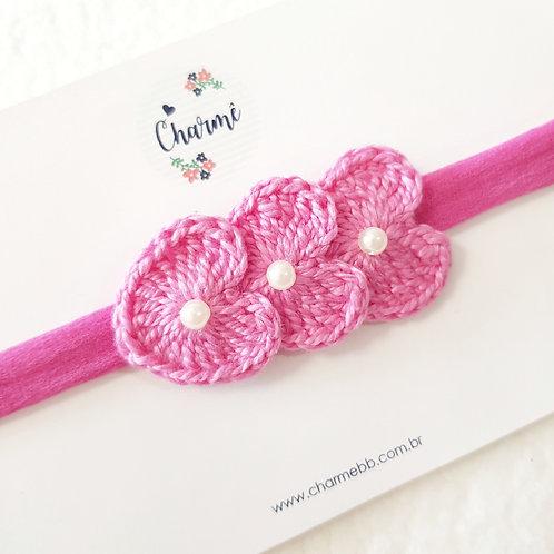 Laço Crochê Trio Coraçõezinhos Rosa Princesa