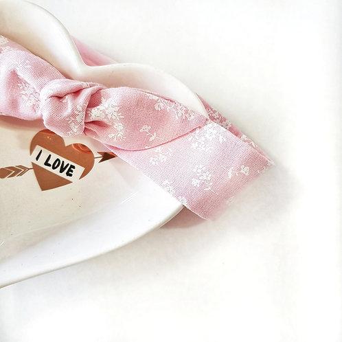 Laço Turbante Floral Rosa Bebê