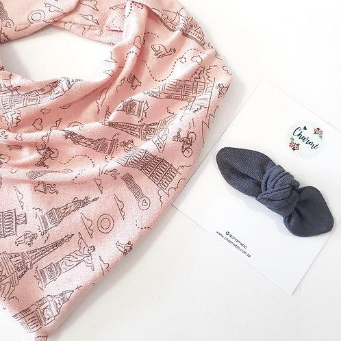 Conjunto Bandana + Mini Turbante Viagem Rosa Blush e Chumbo