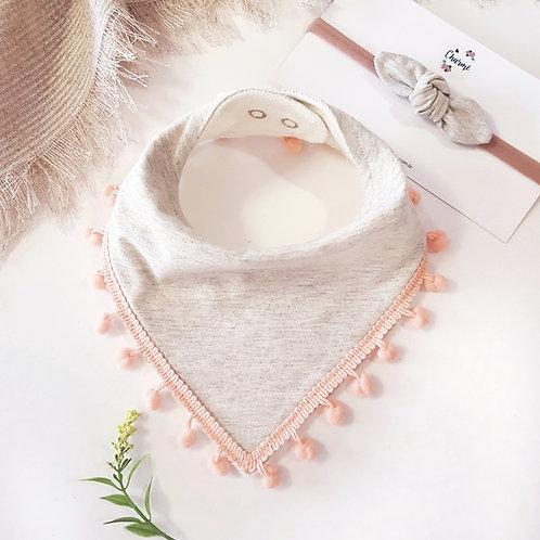 Conjunto Bandana com Pompom + Mini Turbante Off-White Mescla com Pêssego