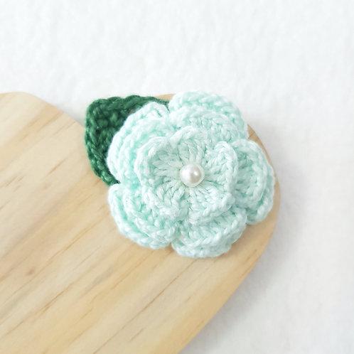 Laço Flor de Crochê Verde Água