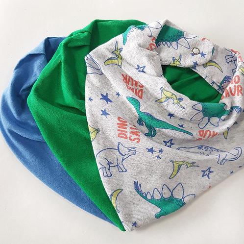 Kit Bandanas Verde Esmeralda + Azul + Dinossauros