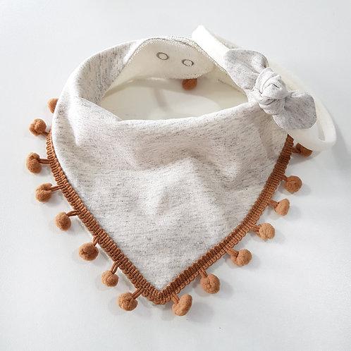 Conjunto Bandana com Pompom + Mini Turbante Off-White Mescla com Caramelo