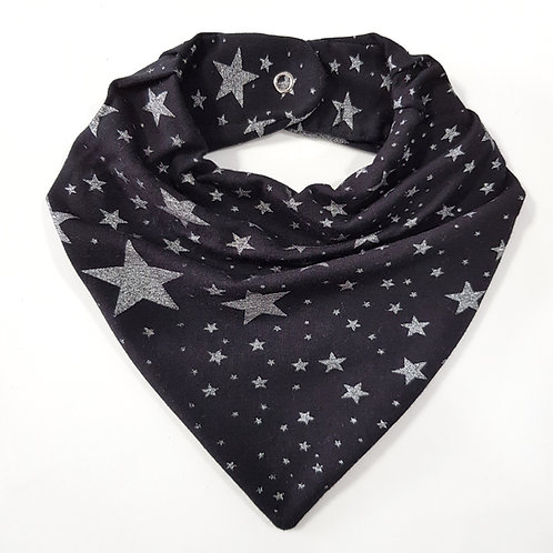 Bandana Estrelas Preto e Prata