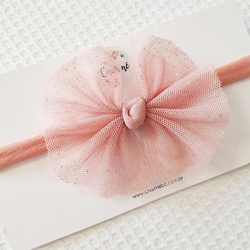 Laço de Tule Brilhinhos Rosa Antigo