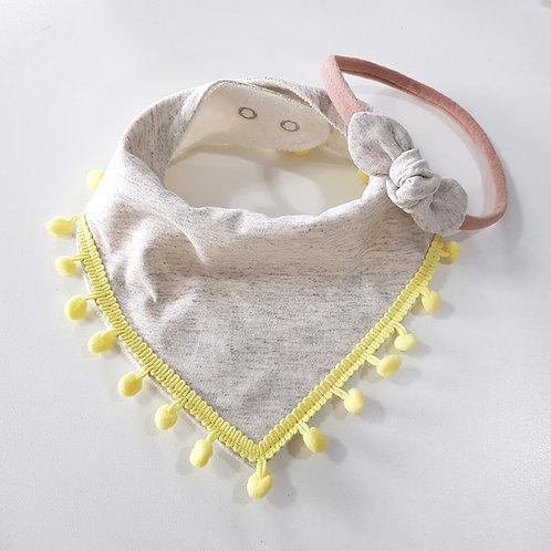 Conjunto Bandana com Pompom + Mini Turbante Off-White Mescla com Amarelinho