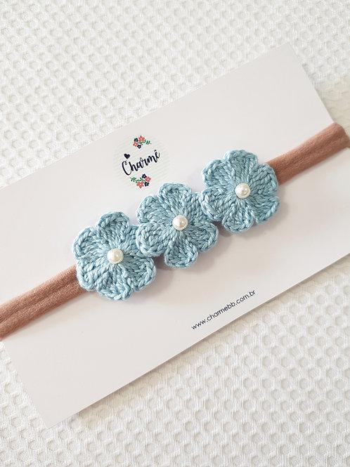 Laço Crochê Trio Floral Azul Jeans