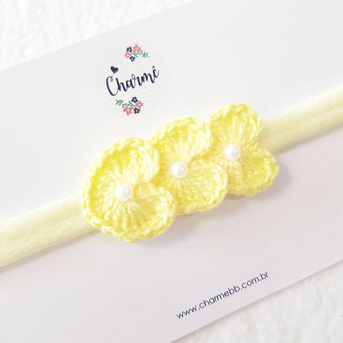Laço Crochê Trio Coraçõezinhos Amarelo